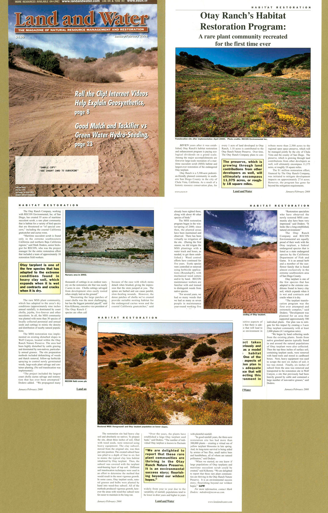 Land and Water Magazine - Otay Ranch article